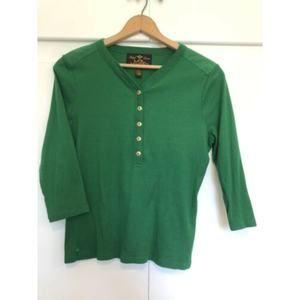 Lauren Ralph Lauren Green Sweater Gold Button Sz L